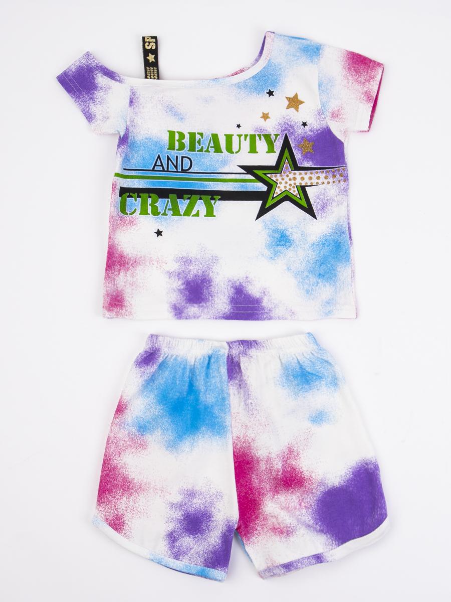 Комплект для девочки: ассиметричная футболка и шорты, цвет: голубой