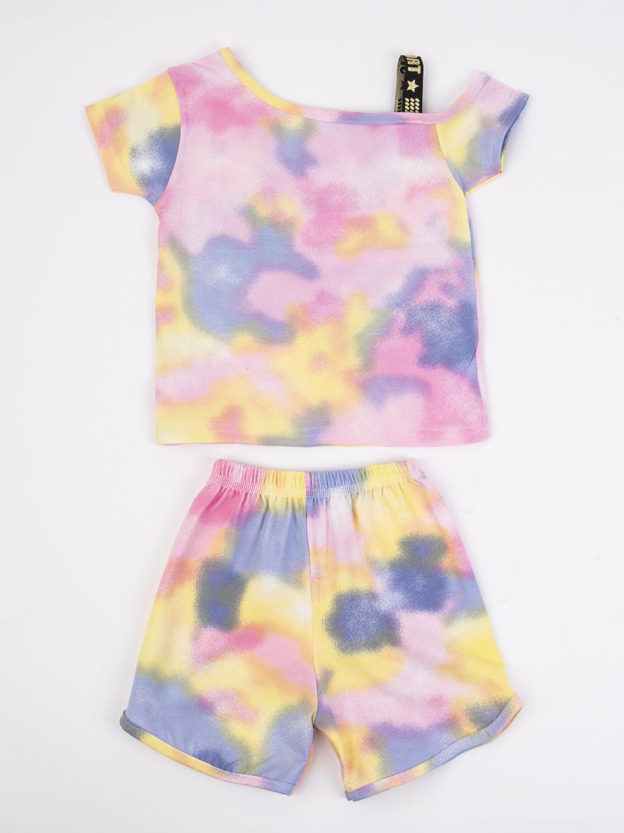 Комплект для девочки: ассиметричная футболка и шорты, цвет: светло-розовый