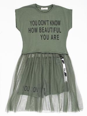 Комплект для девочки: платье с юбкой из сетки и шорты
