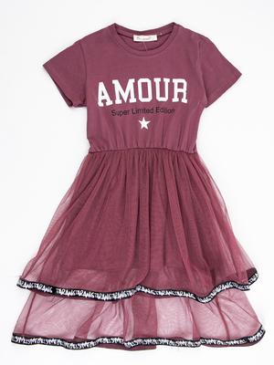Платье приталенное, низ-двойная сетка