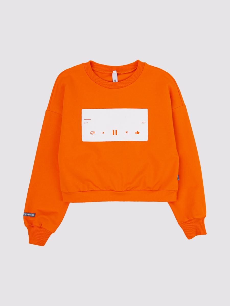 Костюм спортивный:свитшот и лосины облегающие со средней посадкой, цвет: неон оранжевый