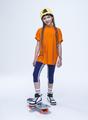 Костюм спортивный:футболка и бриджи облегающие со средней посадкой, цвет: неон оранжевый