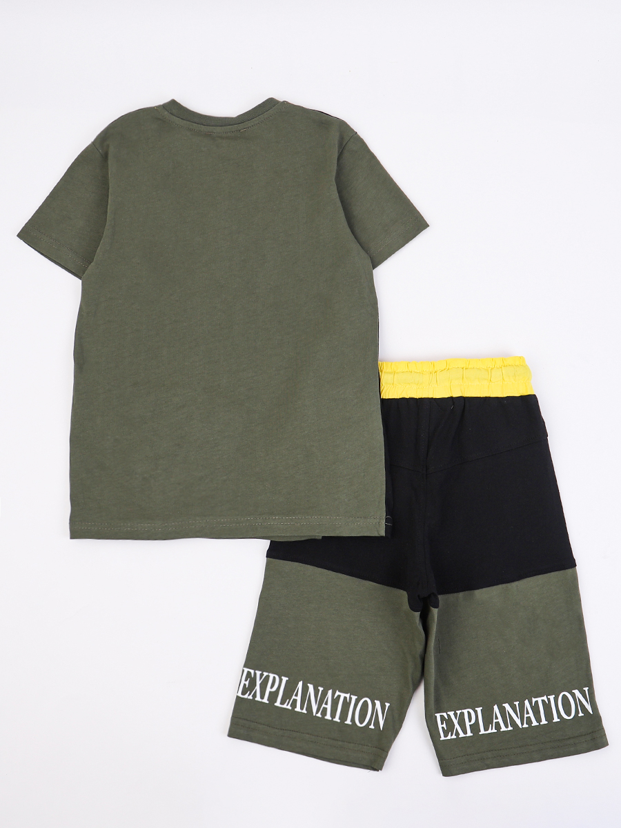 Комплект для мальчика: футболка и шорты, цвет: хаки