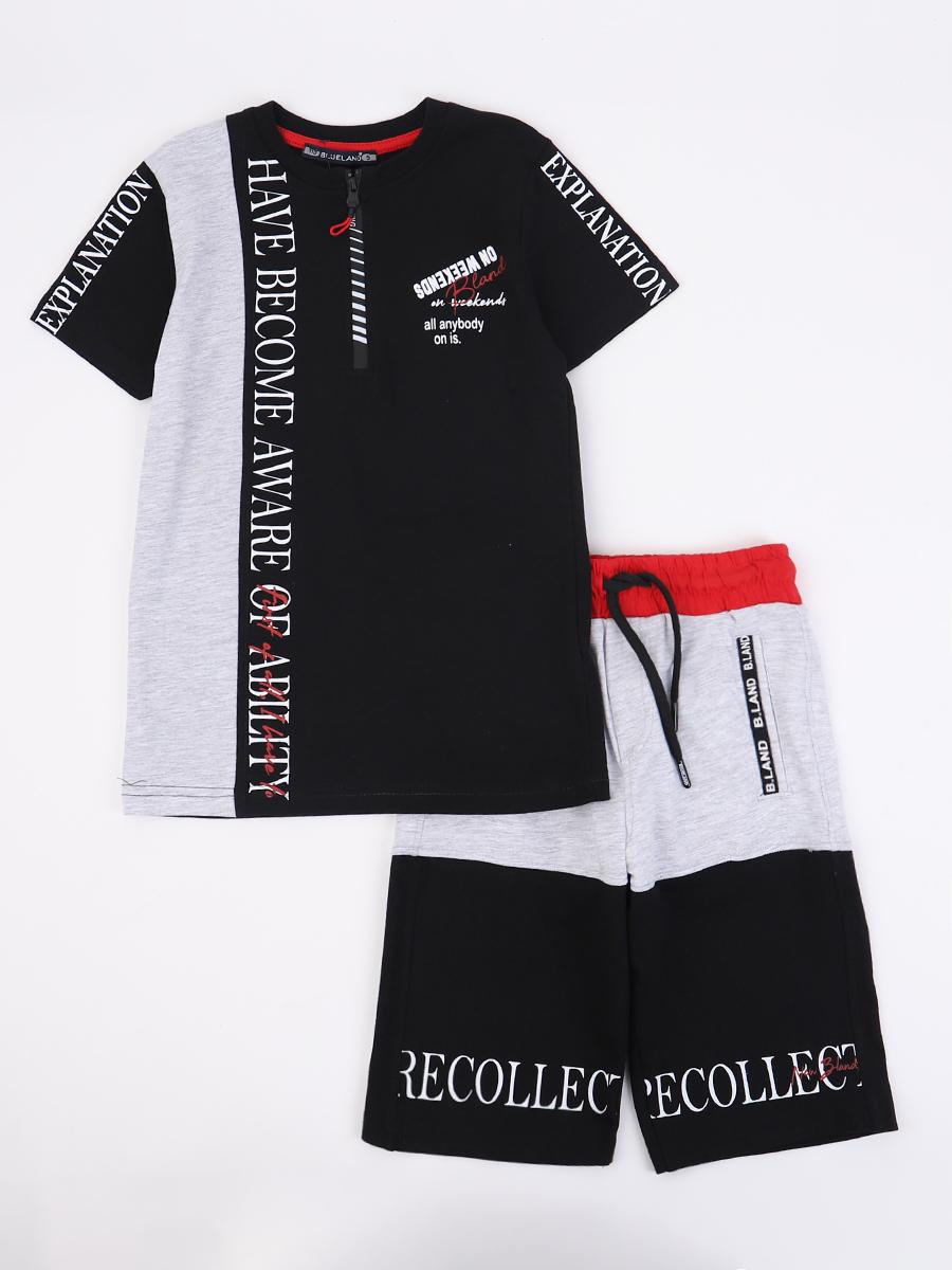 Комплект для мальчика: футболка и шорты, цвет: черный