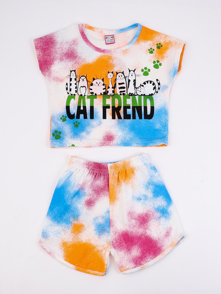 Комплект для девочки: футболка и шорты, цвет: оранжевый
