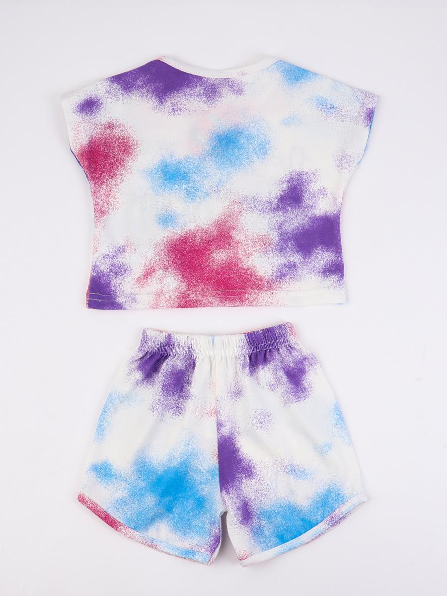 Комплект для девочки: футболка и шорты, цвет: голубой
