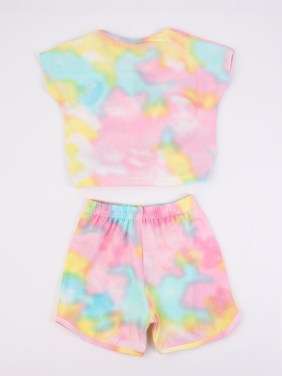 Комплект для девочки; футболка и шорты, цвет: мятный