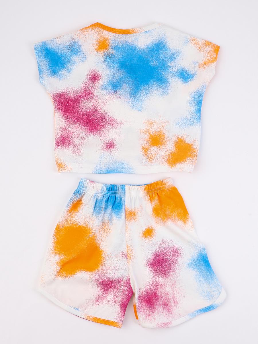 Комплект для девочки; футболка и шорты, цвет: оранжевый