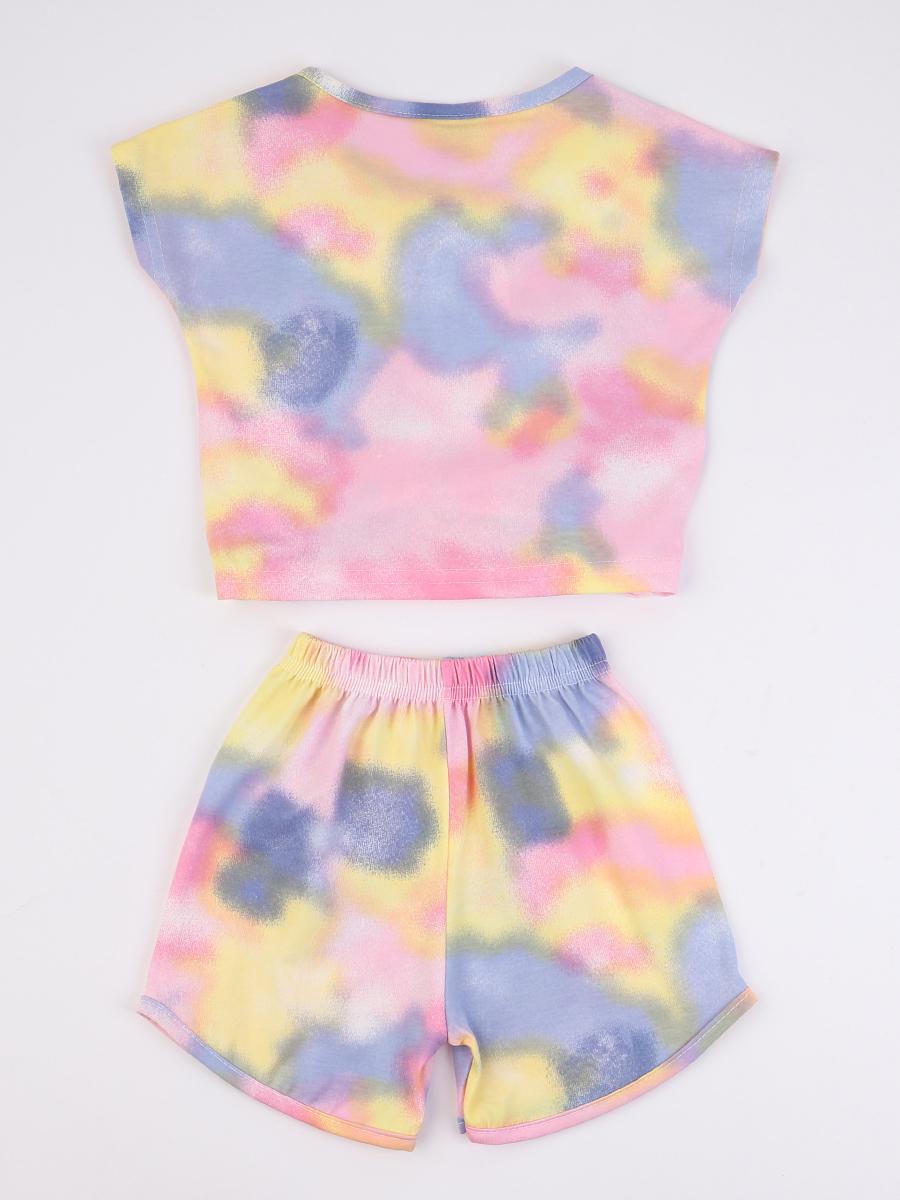 Комплект для девочки; футболка и шорты, цвет: голубой