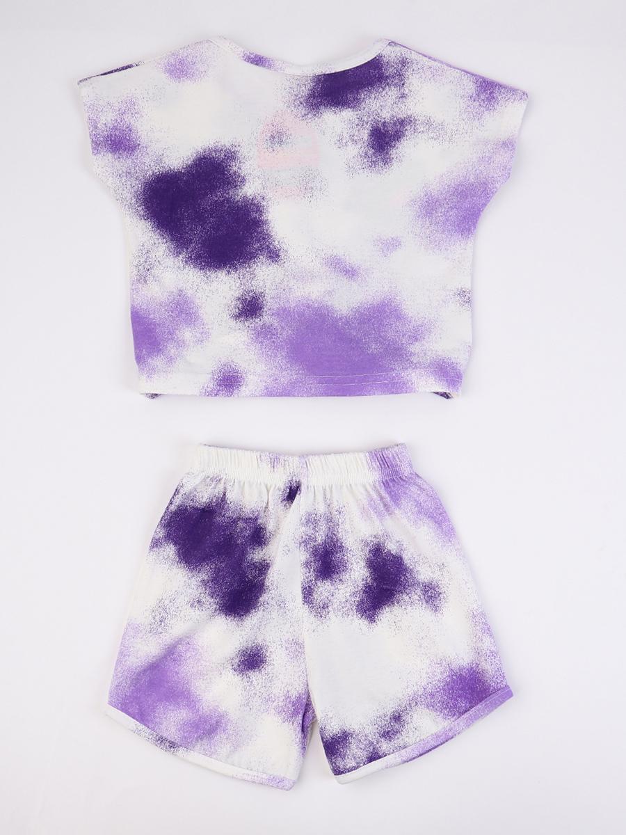 Комплект для девочки; футболка и шорты, цвет: сиреневый