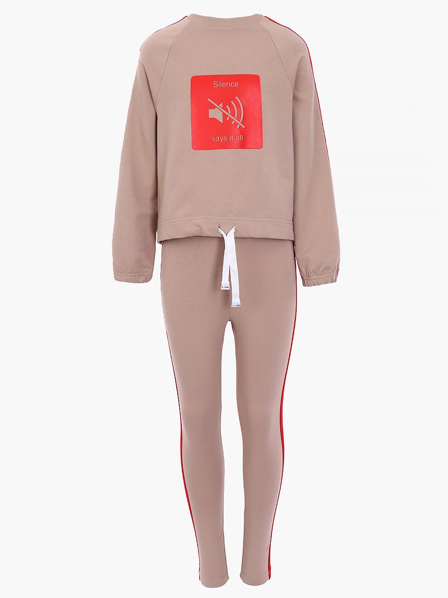 Костюм спортивный:свитшот и брюки полуприлегающие со средней посадкой, цвет: кэмел