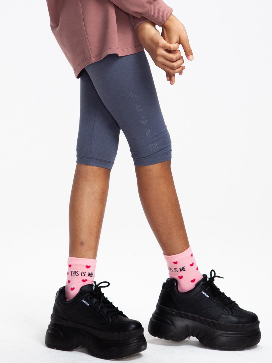 Бриджи облегающие со средней посадкой для девочки, цвет: темно-серый
