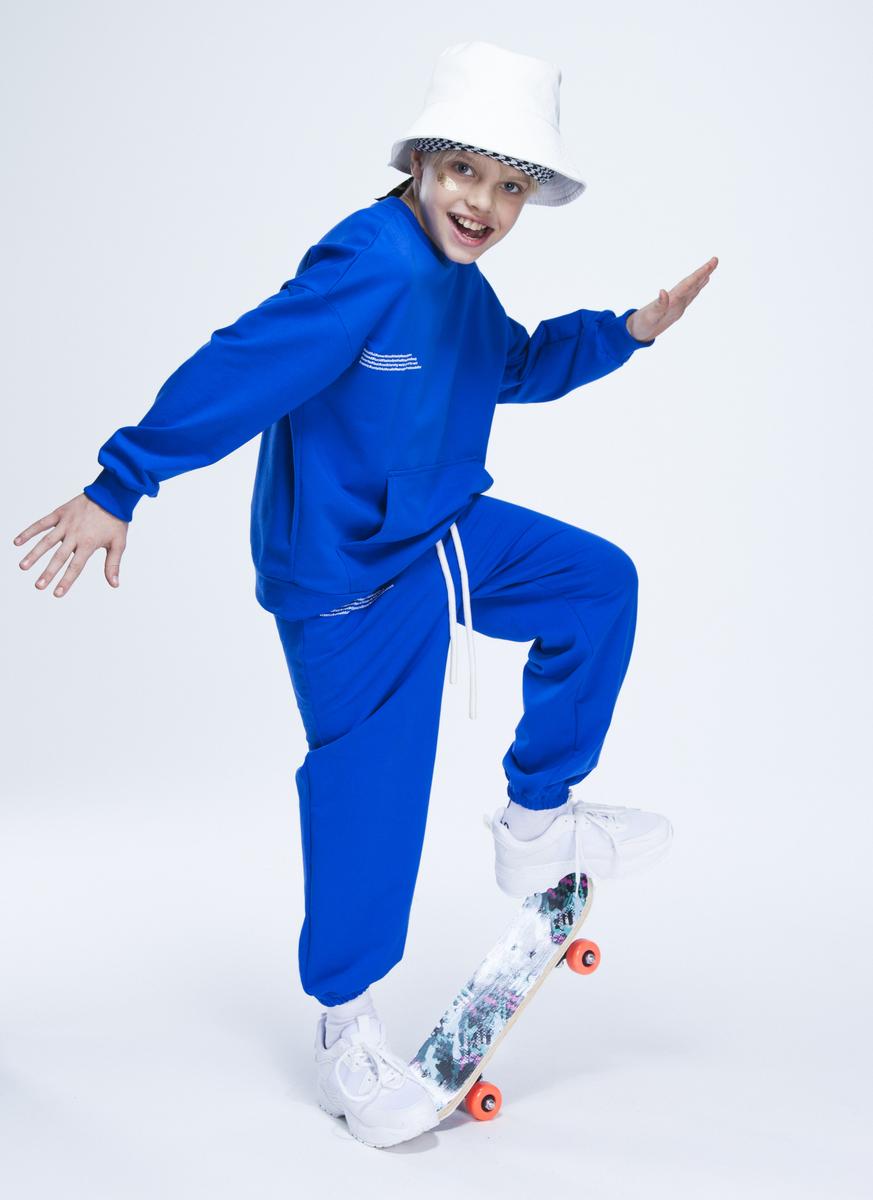 Костюм спортивный:свитшот и брюки, цвет: васильковый