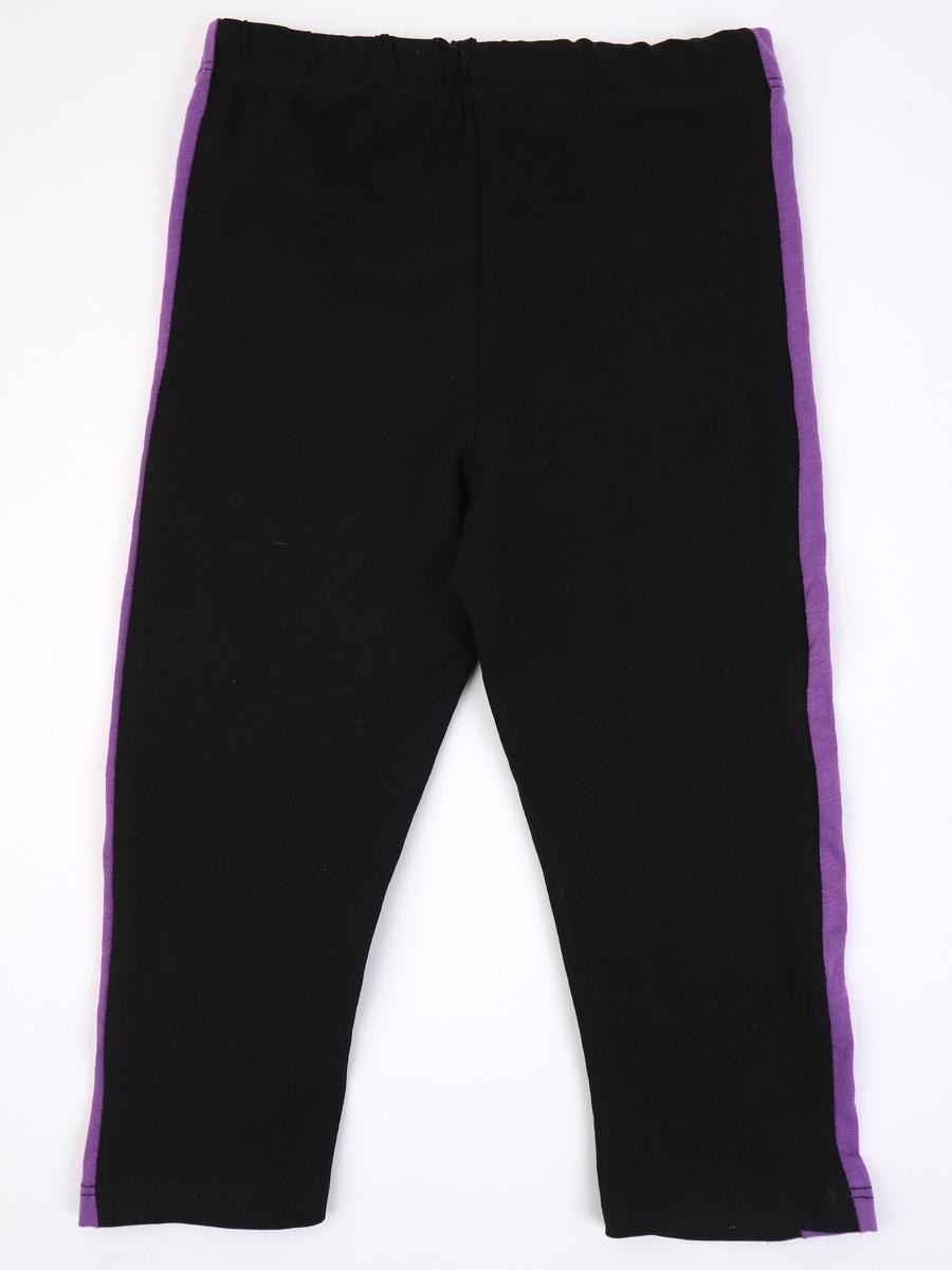 Комплект для девочки: майка, футболка укороченная и лосины, цвет: фиолетовый