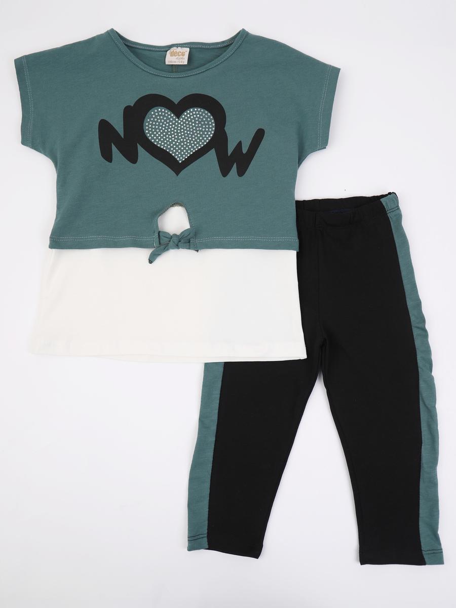 Комплект для девочки: майка, футболка укороченная и лосины, цвет: зеленый лес