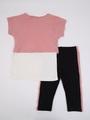 Комплект для девочки: майка, футболка укороченная и лосины, цвет: пудра
