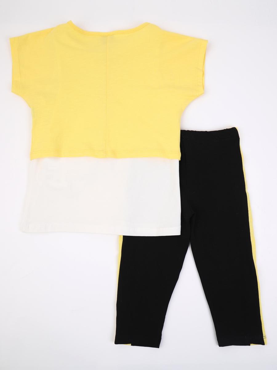 Комплект для девочки: майка, футболка укороченная и лосины, цвет: желтый