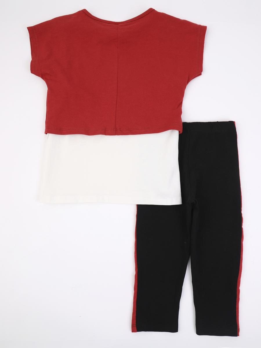 Комплект для девочки: майка, футболка укороченная и лосины, цвет: терракотовый