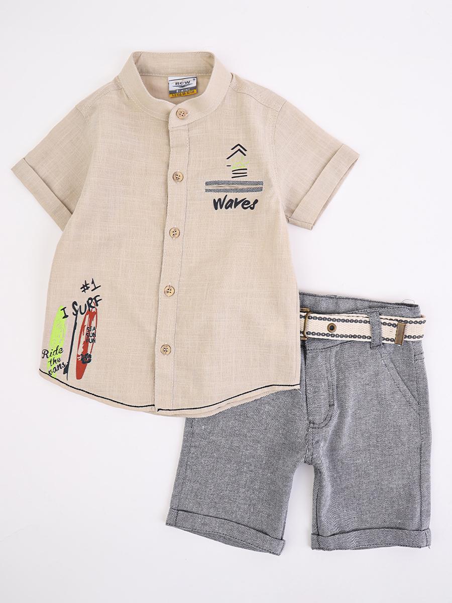 Комплект для мальчика: рубашка и шорты, цвет: бежевый