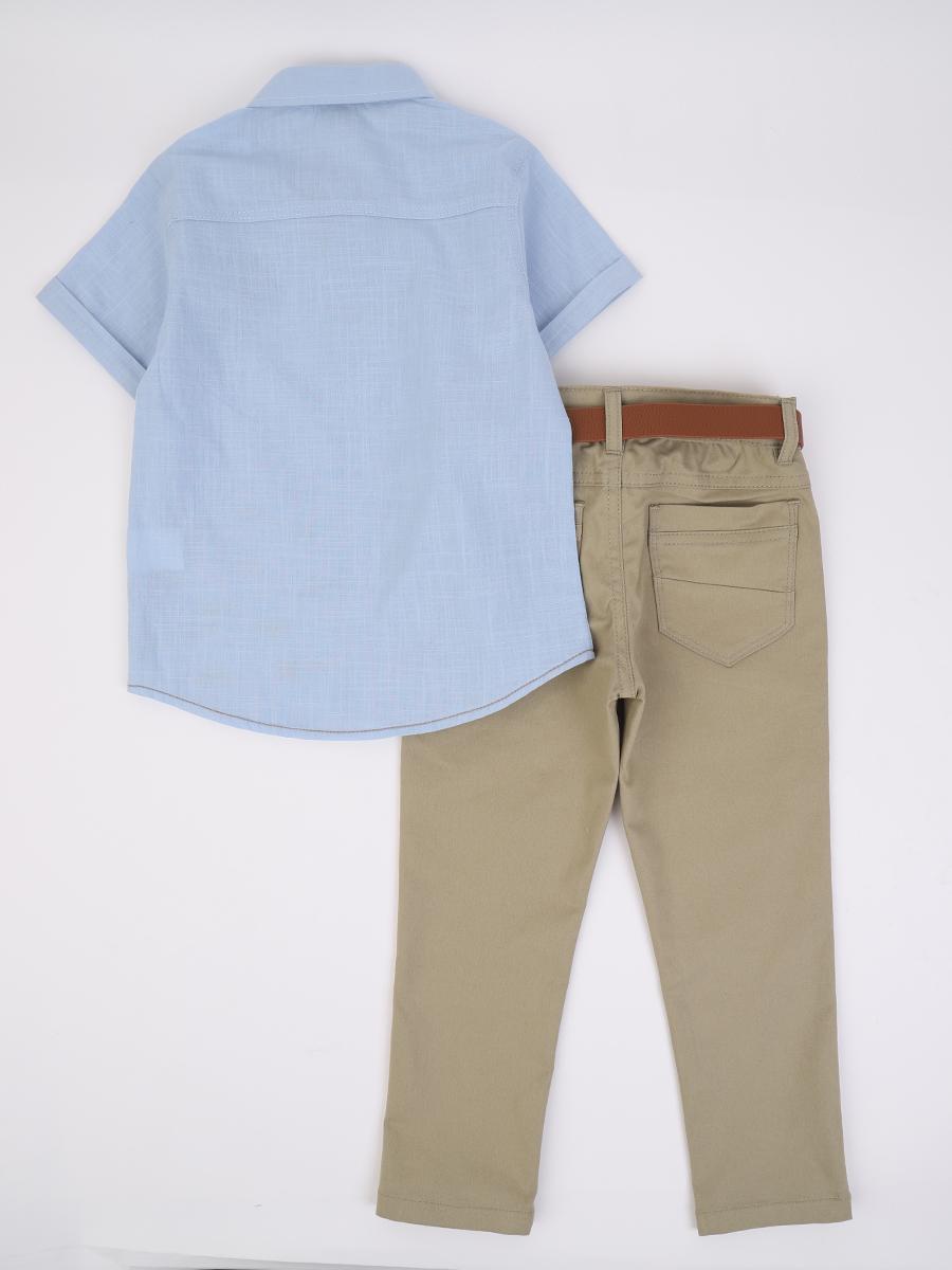 Комплект для мальчика: рубашка и брюки с ремнем, цвет: голубой