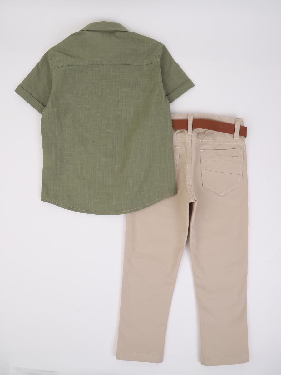 Комплект для мальчика: рубашка и брюки с ремнем, цвет: хаки