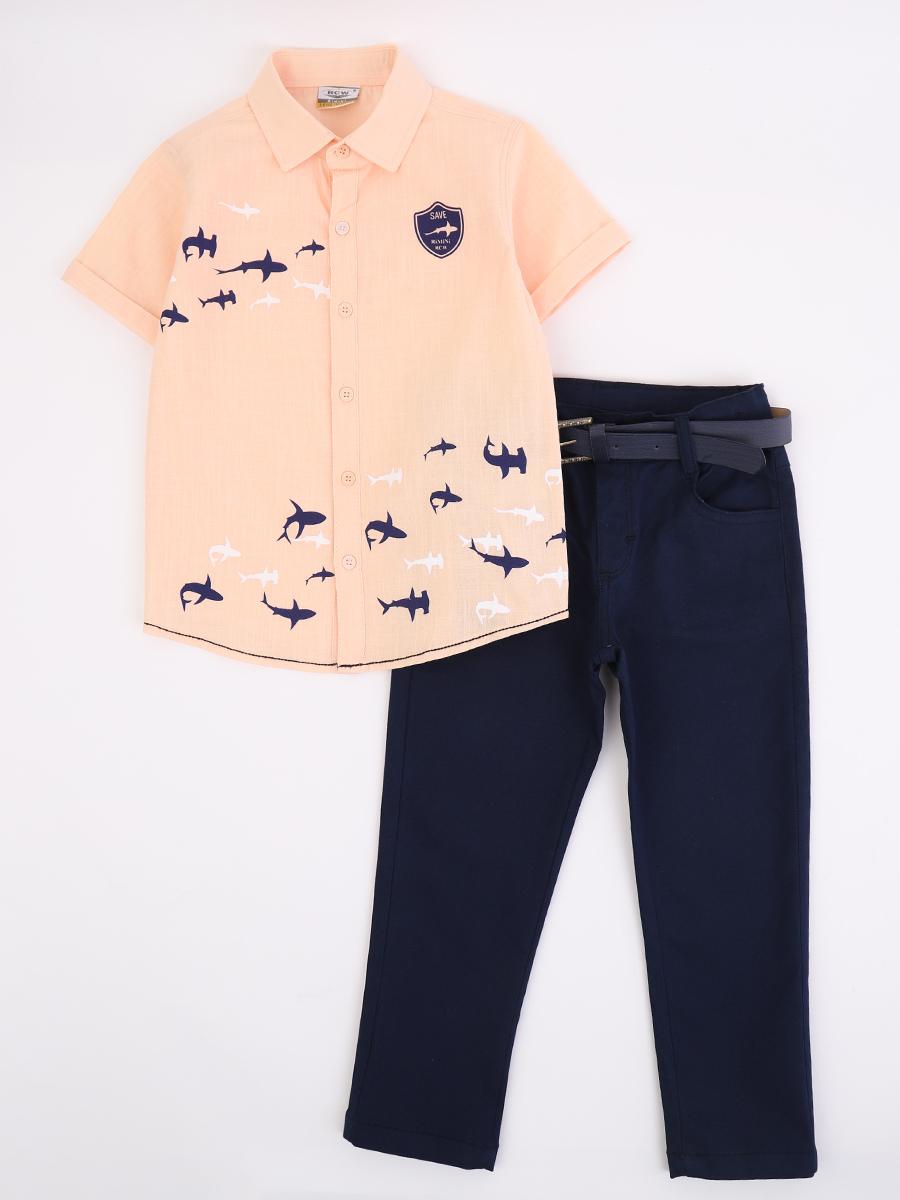 Комплект для мальчика: рубашка и брюки с ремнем, цвет: пудра