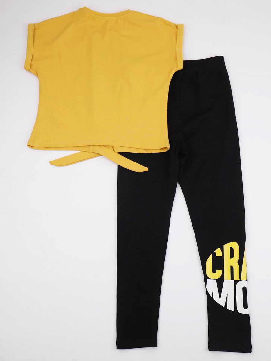 Комплект для девочки: футболка укороченная и лосины, цвет: горчичный