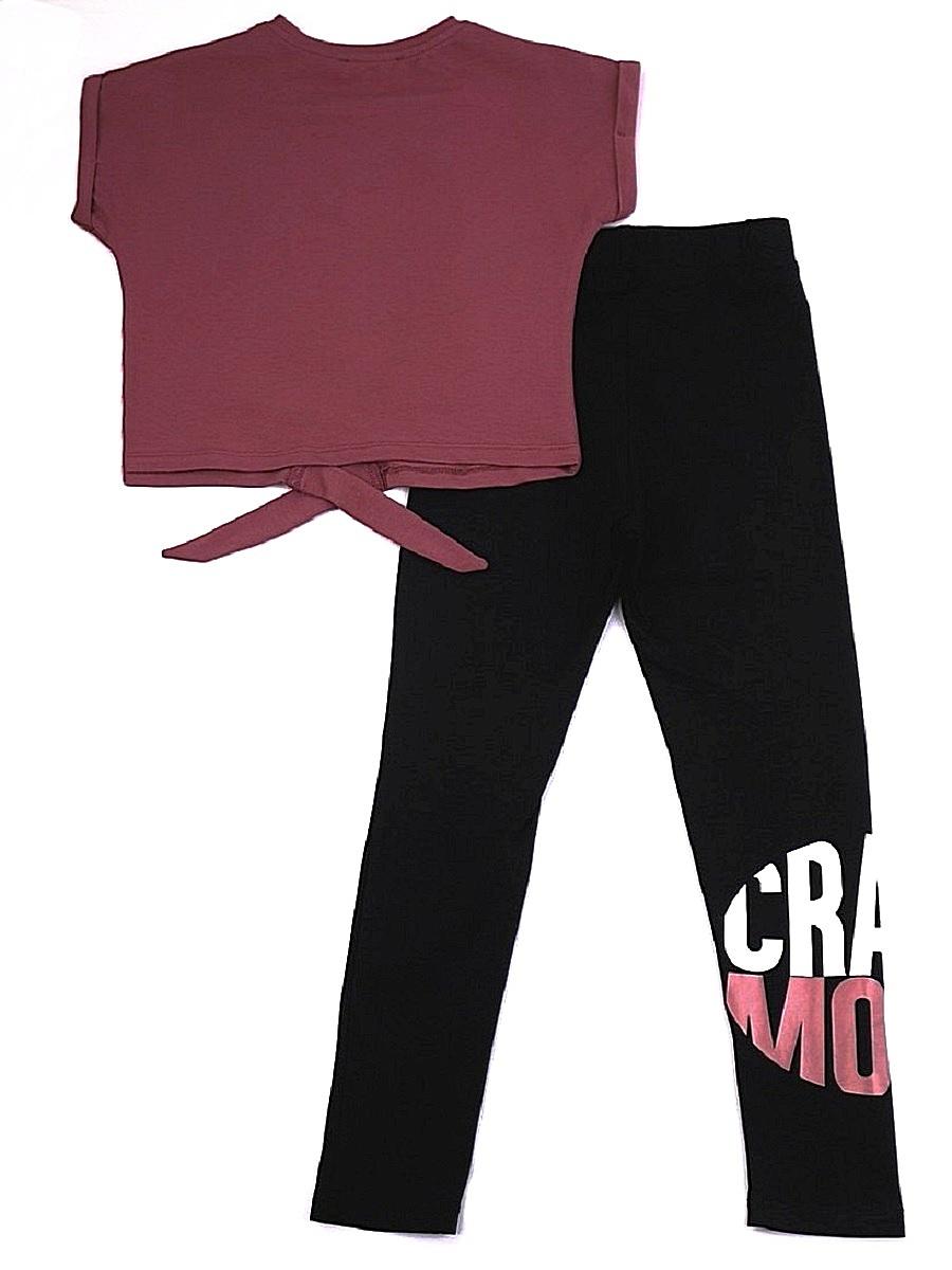 Комплект для девочки: футболка укороченная и лосины, цвет: брусничный