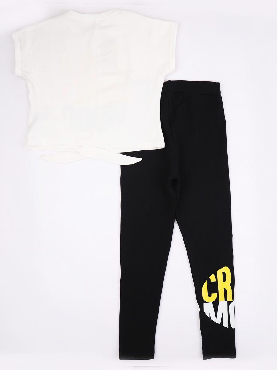 Комплект для девочки: футболка укороченная и лосины, цвет: молочный