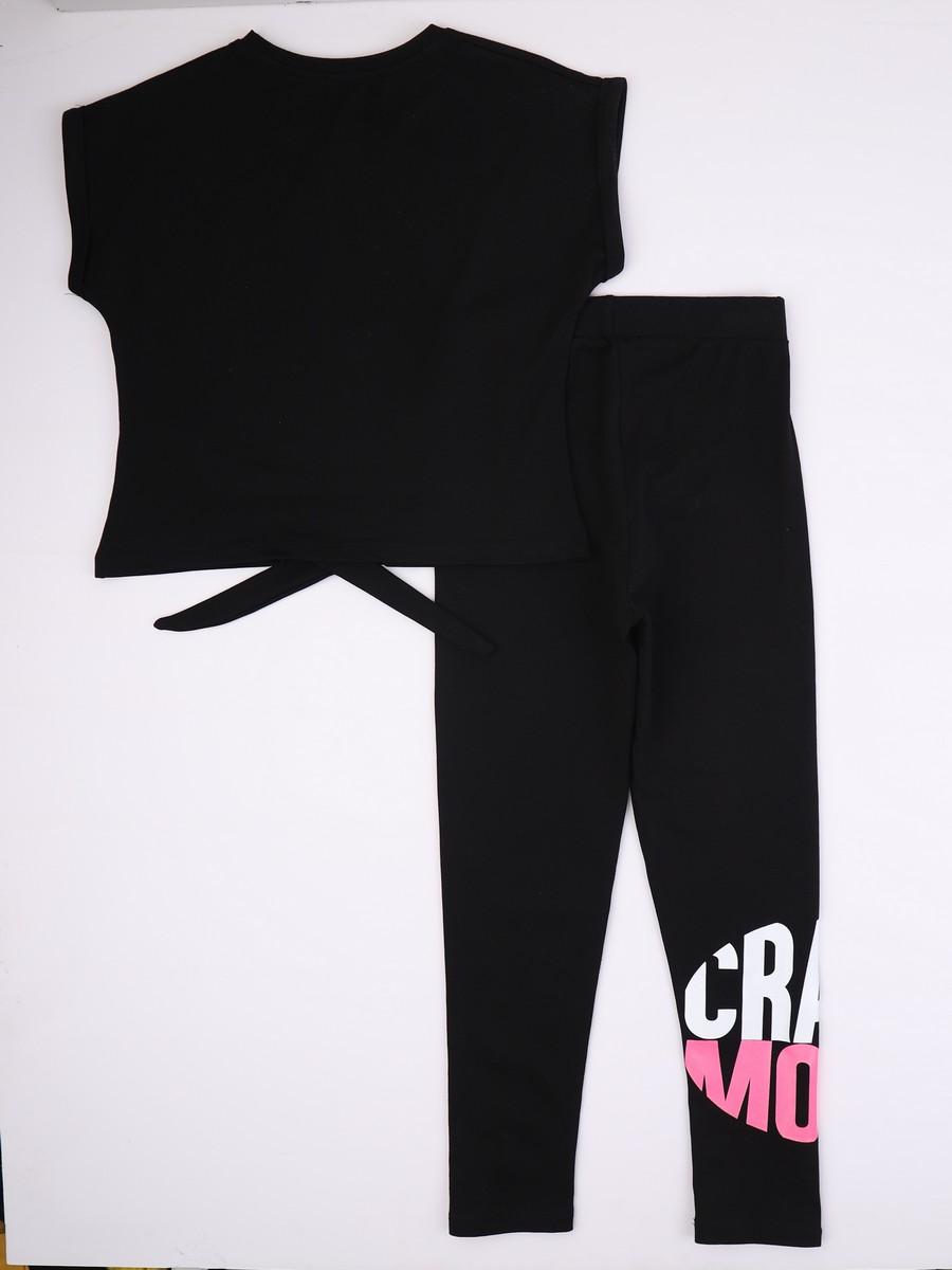 Комплект для девочки: футболка укороченная и лосины, цвет: черный