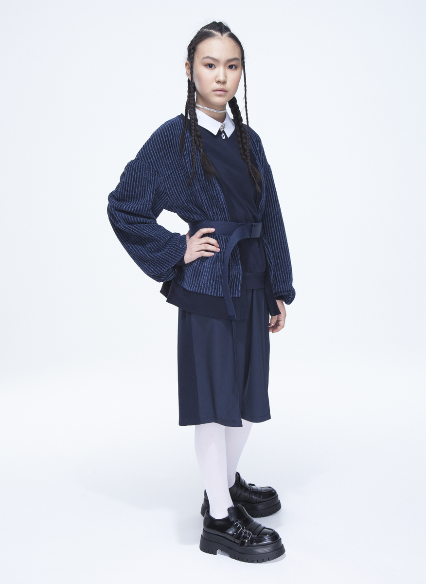 Кардиган для девочки, цвет: темно-синий