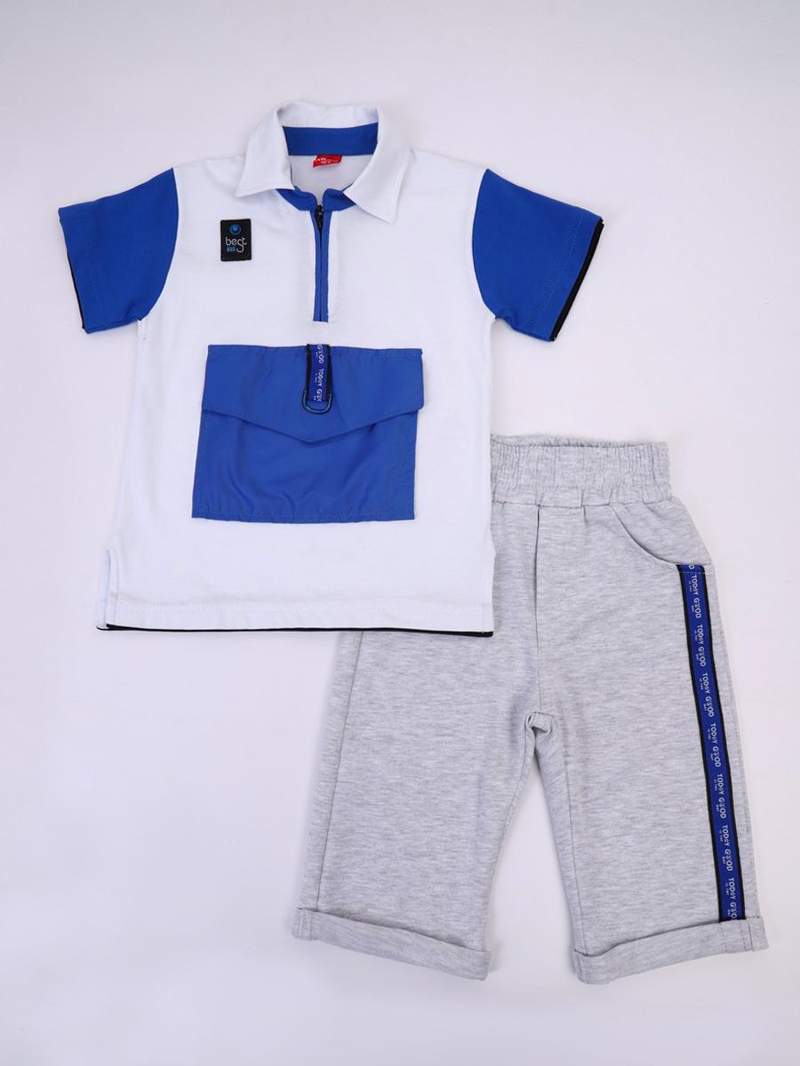 Комплект для мальчика: футболка и бриджи, цвет: белый