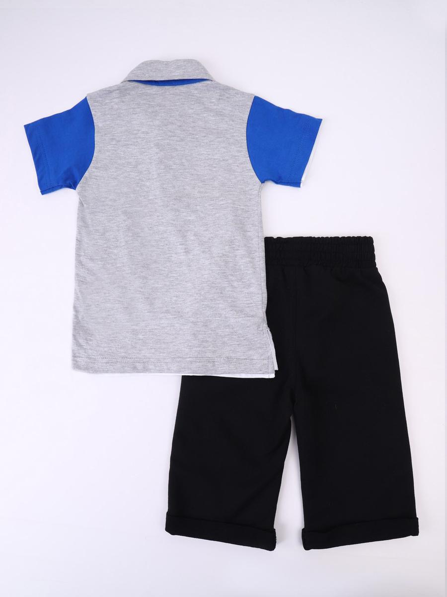Комплект для мальчика: футболка и бриджи, цвет: серый меланж