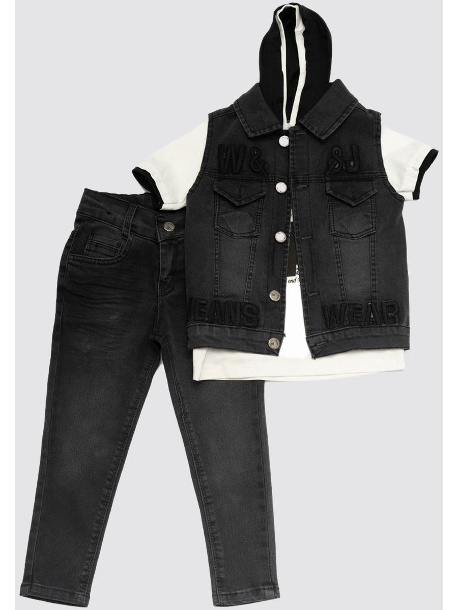 Комплект для мальчика: футболка, брюки джинсовые и жилет, цвет: темно-серый