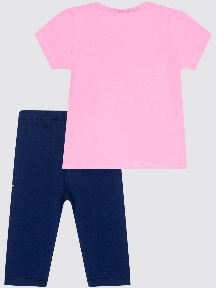 Комплект для девочки: футболка и лосины укороченные, цвет: светло-розовый