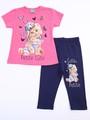 Комплект для девочки: футболка и лосины укороченные, цвет: розовый