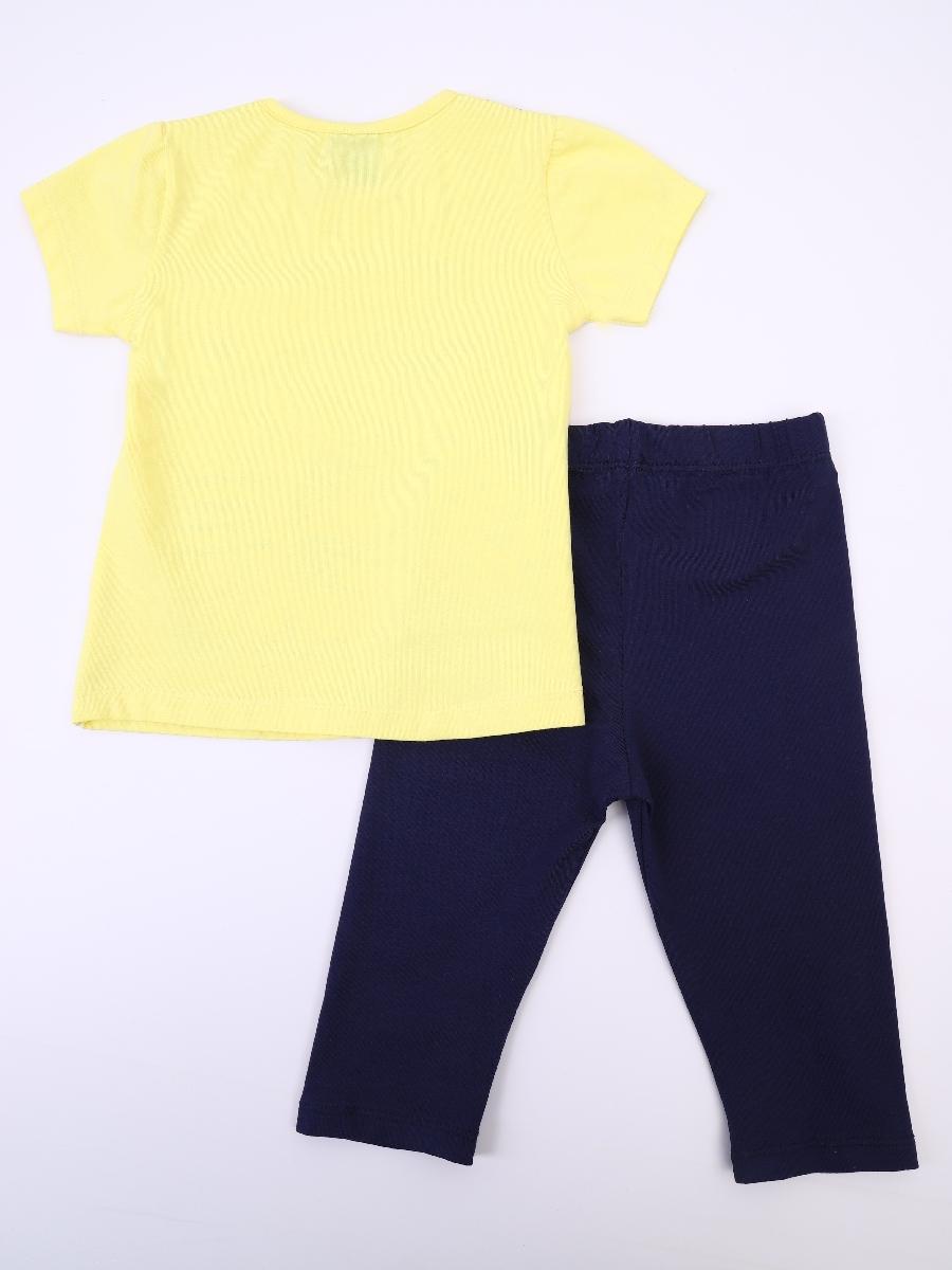 Комплект для девочки: футболка и лосины укороченные, цвет: желтый