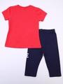 Комплект для девочки: футболка и лосины укороченные, цвет: коралловый