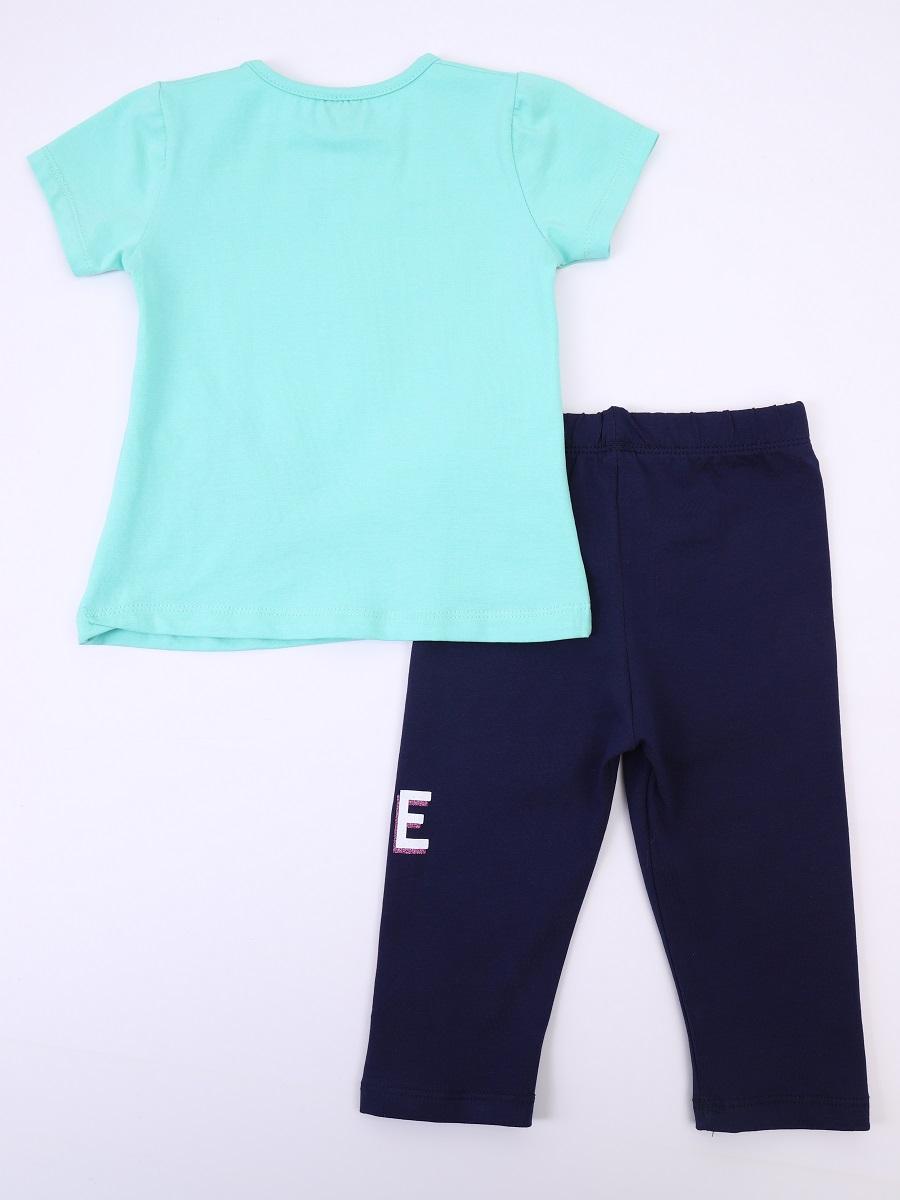 Комплект для девочки: футболка и лосины укороченные, цвет: мятный