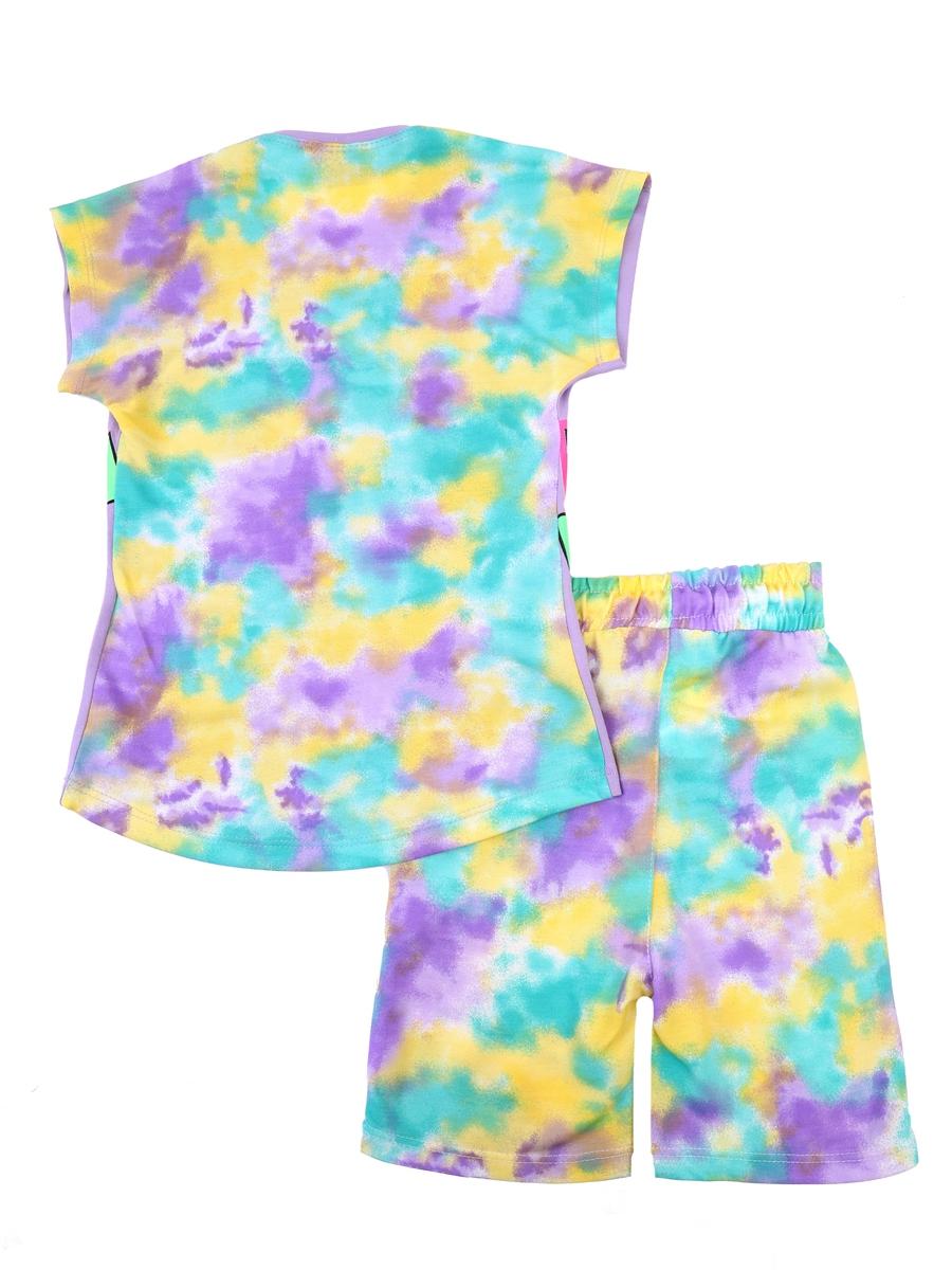 Комплект для девочки: футболка и шорты, цвет: сиреневый