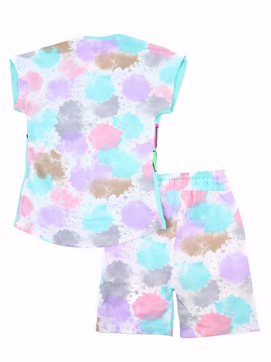 Комплект для девочки: футболка и шорты, цвет: мятный