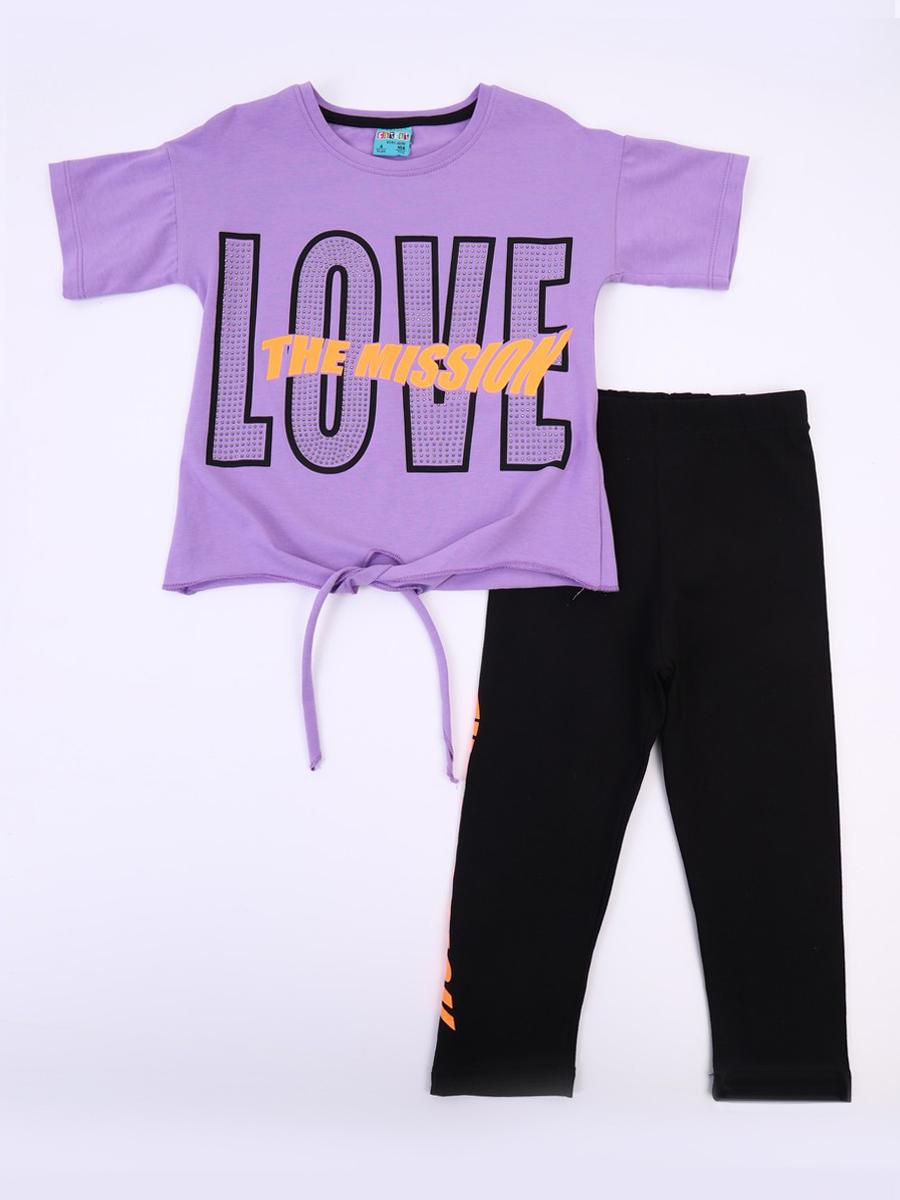 Комплект для девочки; футболка и лосины, цвет: сиреневый