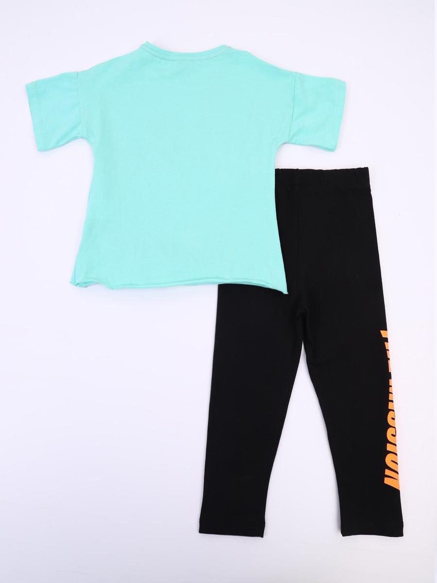 Комплект для девочки; футболка и лосины, цвет: мятный