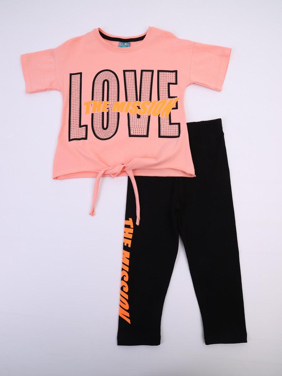 Комплект для девочки; футболка и лосины, цвет: пудра
