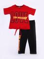 Комплект для девочки; футболка и лосины, цвет: красный
