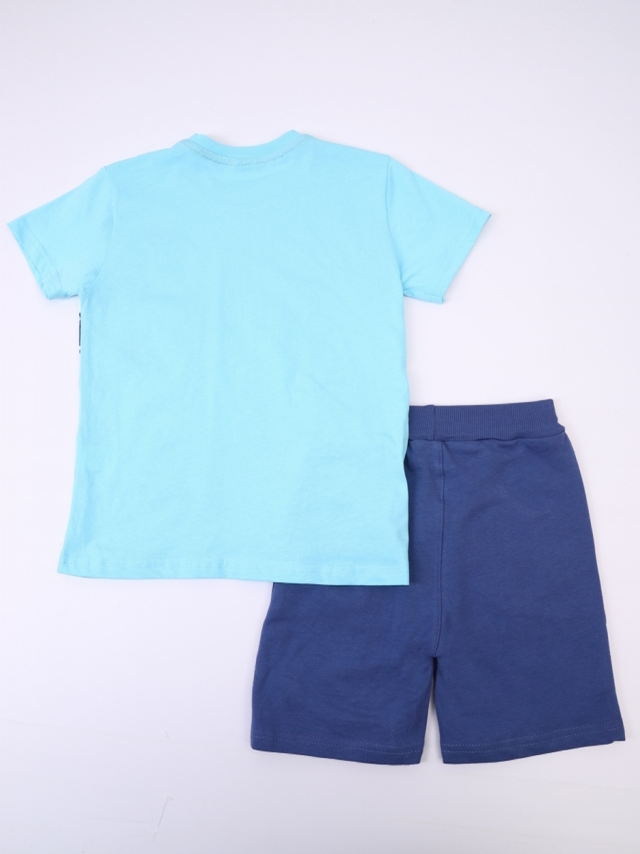 Комплект для мальчика: футболка и шорты, цвет: бирюзовый