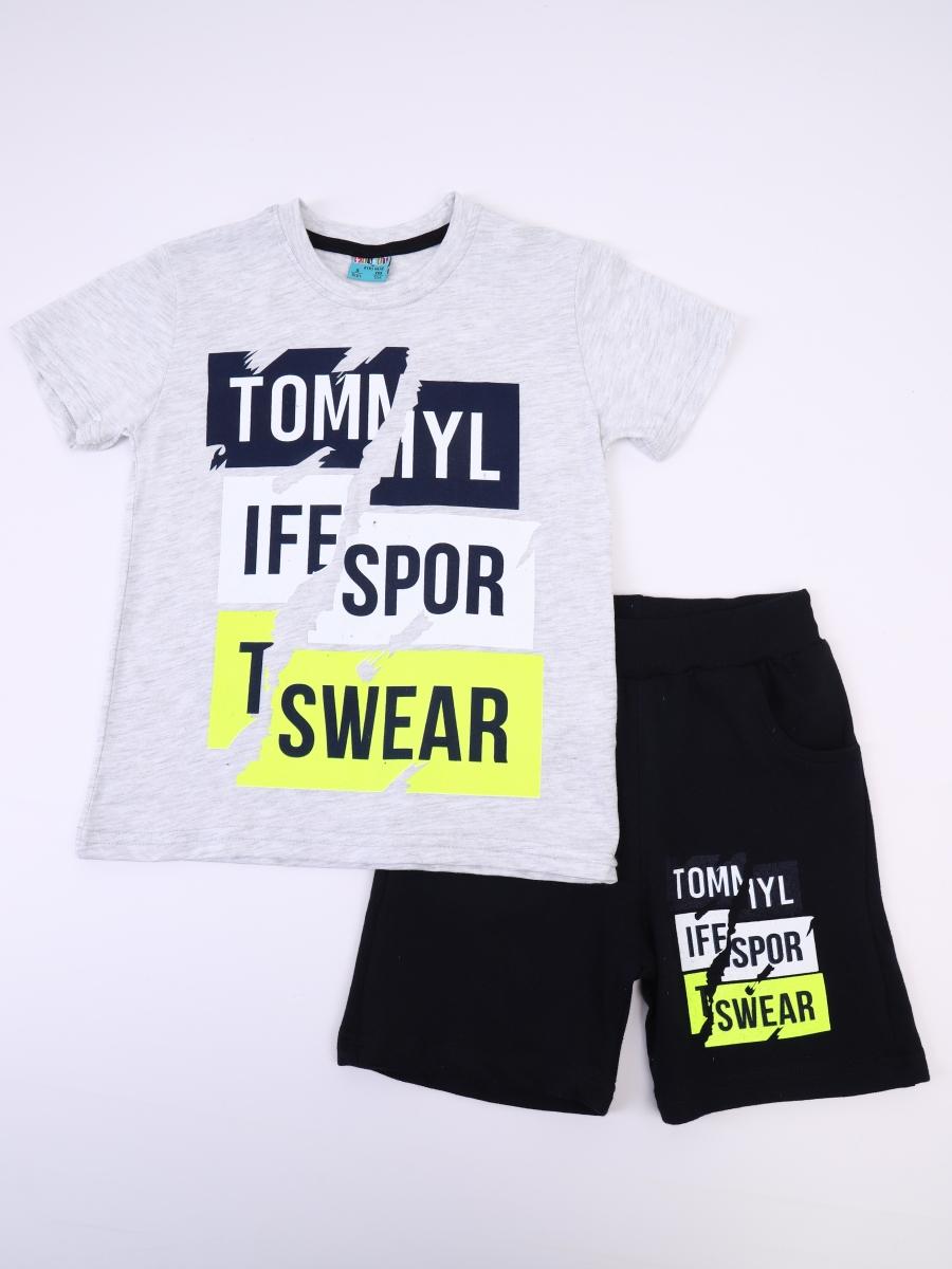 Комплект для мальчика: футболка и шорты, цвет: серый меланж
