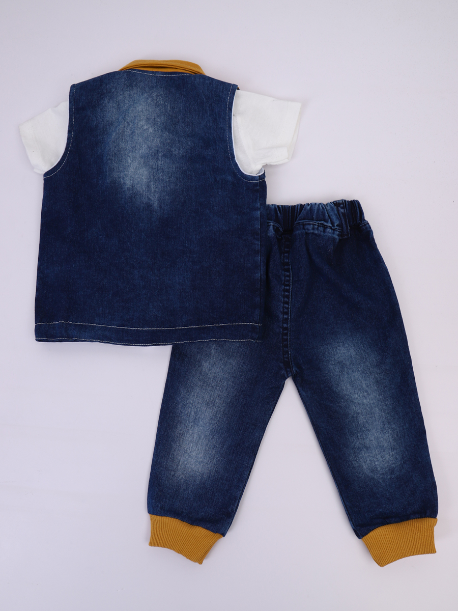 Комплект для мальчика: футболка, брюки джинсовые и жилет, цвет: горчичный