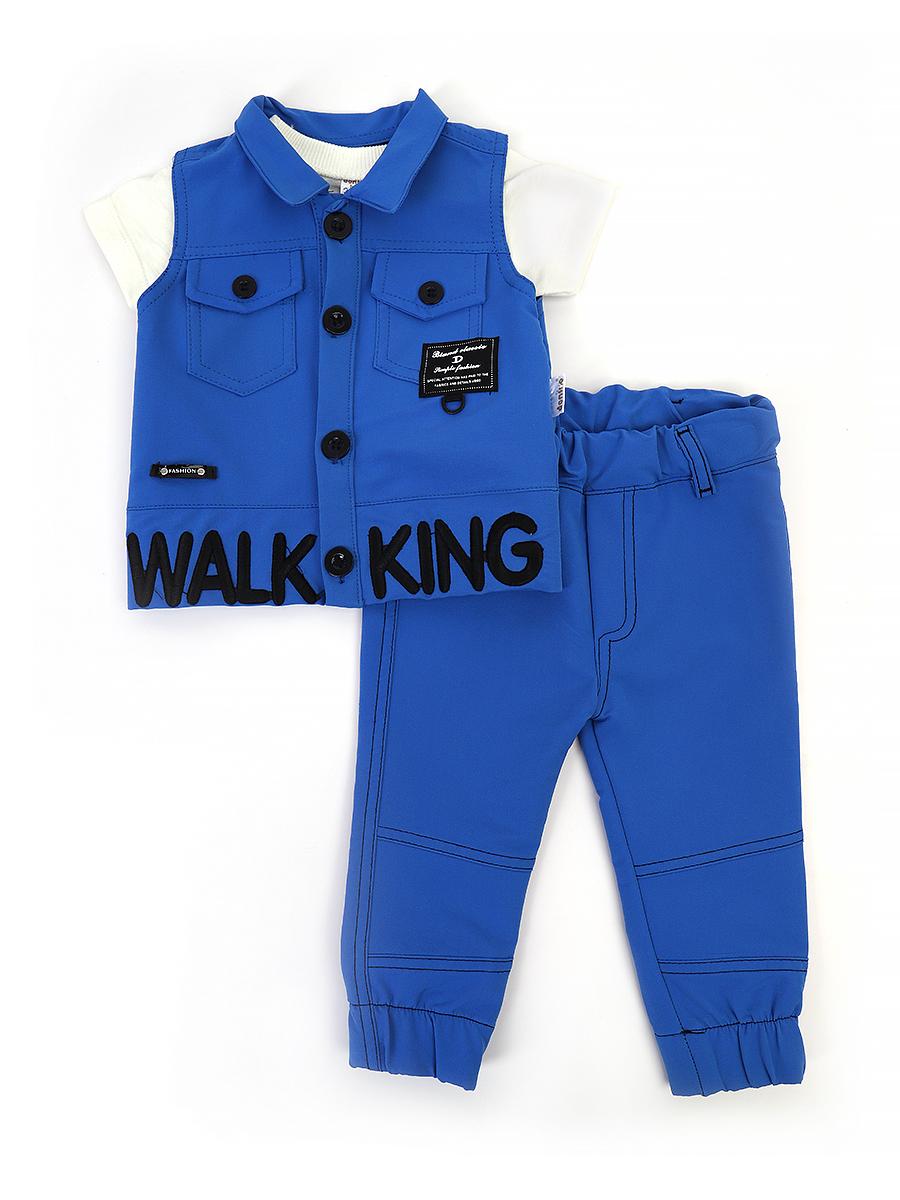 Комплект для мальчика: футболка, брюки и жилет, цвет: синий