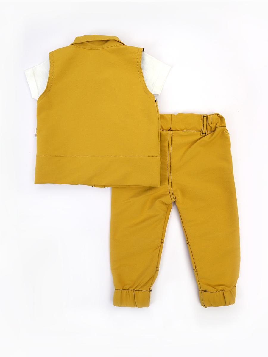 Комплект для мальчика: футболка, брюки и жилет, цвет: горчичный